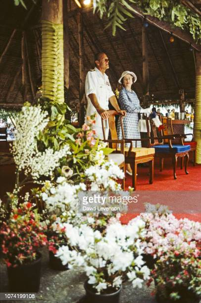 Queen Elizabeth II and Prince Philip in Nauru, on the Royal Tour of the South Pacific, 21st October 1982.