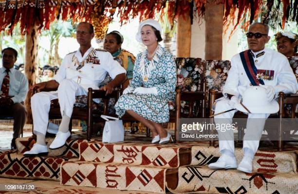 """Queen Elizabeth II and Prince Philip in the Vaiaku maneapa of Funfuti in Tuvalu on October 26, 1982 during the Royal Tour of the South Pacific. """"n"""