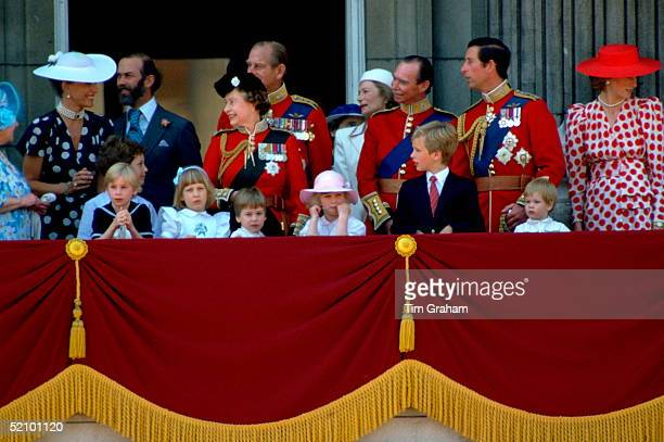 Queen Elizabeth II And Prince Philip Laughing With Prince And Princess Michael Of Kent As Members Of The Royal Family Watch Trooping The Colour From...