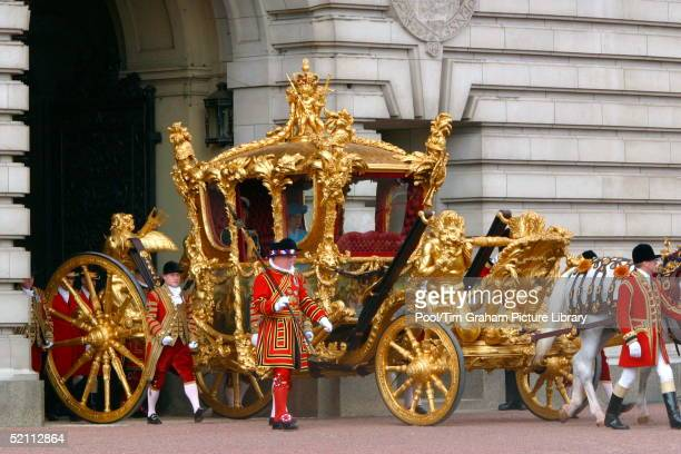 Queen Elizabeth II And Prince Philip Leaving Buckingham Palace In The Gold State Coach On Her Way To The Service To Mark Her Golden Jubilee