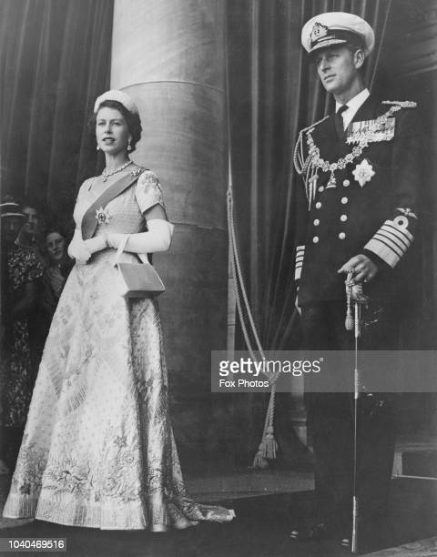 Queen Elizabeth II and Prince Philip leaving Parliament House Wellington after the Queen had opened a special session of the New Zealand Parliament...