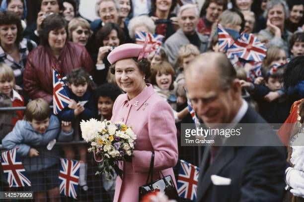 Queen Elizabeth II and Prince Philip meet the public on a walkabout in Kent 31st October 1984