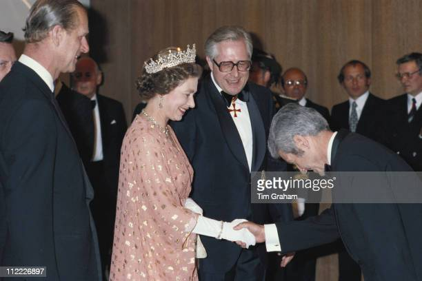 Queen Elizabeth II and Prince Philip meeting dignitaries at a banquet in Mainz during a State Visit to West Germany May 1978