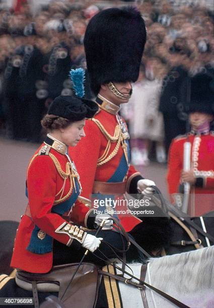 Queen Elizabeth II and Prince Philip on horseback at the Trooping of the Colour in London on 11th June 1966