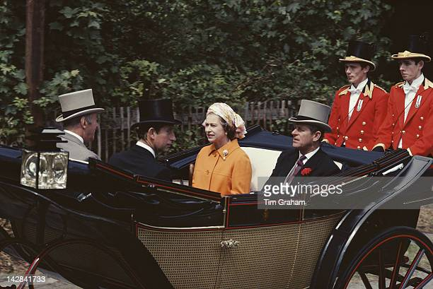 Queen Elizabeth II and Prince Philip on their way to Ascot with Prince Charles June 1978