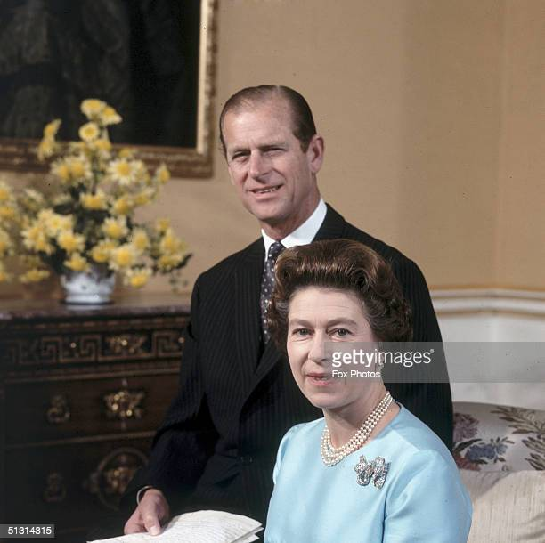 Queen Elizabeth II and Prince Philip pose for a portait to commemorate their 25th silver wedding anniversary at Buckingham Palace 20th November 1972