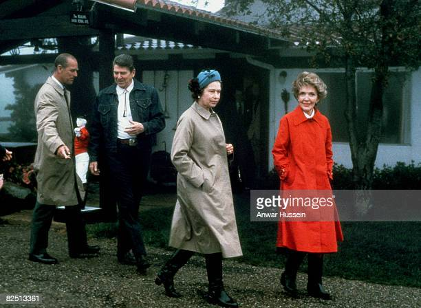 Queen Elizabeth II And Prince Philip pose with President Ronald Reagan And First Lady Nancy Reagan on March 3 1983 at Their Mountain Top Getaway...