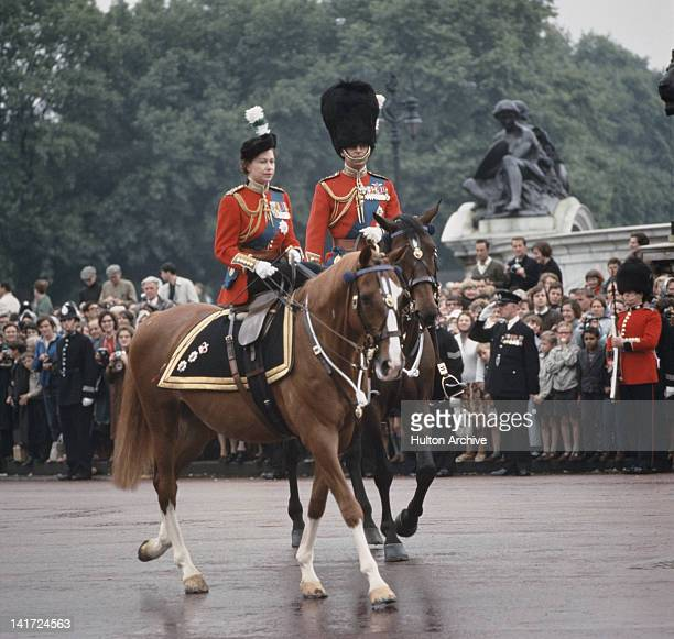 Queen Elizabeth II and Prince Philip return to Buckingham Palace in London after the Trooping The Colour ceremony 12th June 1965