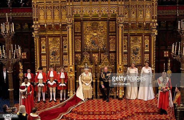 Queen Elizabeth II And Prince Philip Seated On Thrones At The State Opening Of Parliament Held In The House Of Lords The Queen And Prince Philip Are...