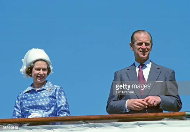 Queen Elizabeth II and Prince Philip setting sail from Kuwait aboard the Royal Yacht Britannia