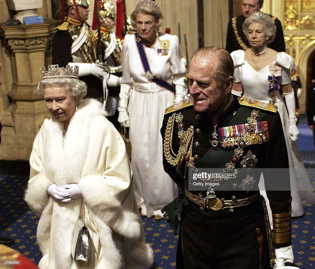 HRH Queen Elizabeth II and Prince Philip the Duke Of Edinburgh arrive at the State Opening of Parliament on November 26, 2003 in London, England.