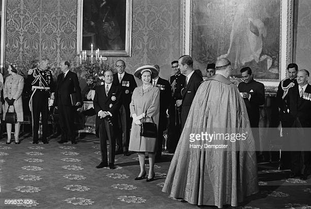 Queen Elizabeth II and Prince Philip the Duke of Edinburgh arrive in Malta for a Commonwealth visit 14th November 1967 They are met by Maltese Prime...
