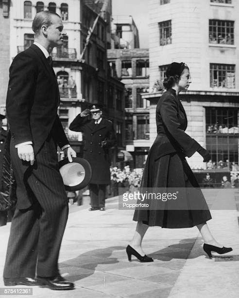 Queen Elizabeth II and Prince Philip the Duke of Edinburgh arriving at St Paul's Cathedral for the ceremony of distributing the Royal Maundy money...