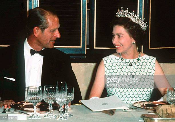 Queen Elizabeth II and Prince Philip the Duke of Edinburgh at a State banquet in 1970