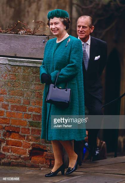 Queen Elizabeth II, and Prince Philip, The Duke of Edinburgh, attend The Christmas Day Service at St Georges Chapel, Windsor Castle, on December 25...