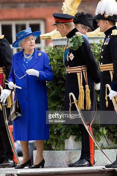 Queen Elizabeth II and Prince Philip, the Duke of Edinburgh attend the Founder's Day Parade and take the salute at the Royal Hospital Chelsea on June...