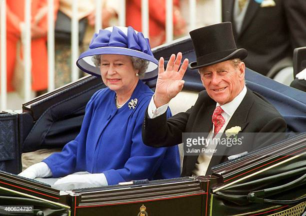 Queen Elizabeth II and Prince Philip The Duke of Edinburgh in the carriage procession at The Royal Ascot race meeting on June 20 1996 in Ascot United...