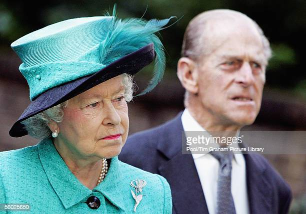 Queen Elizabeth II and Prince Philip The Duke of Edinburgh look on as Norway's King Harald unveils a statue of the late Queen Maud of Norway at the...
