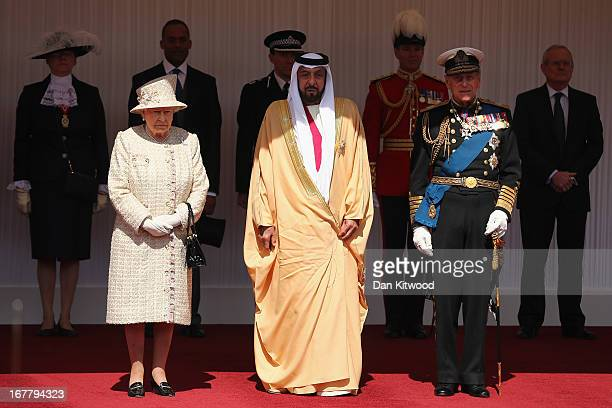 Queen Elizabeth II and Prince Philip the Duke of Edinburgh pose with The President of the United Arab Emirates His Highness Sheikh Khalifa bin Zayed...