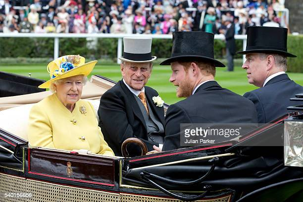 Queen Elizabeth II and Prince Philip the Duke of Edinburgh with Prince Harry and Prince AndrewDuke of York attend the first day of The Royal Ascot...