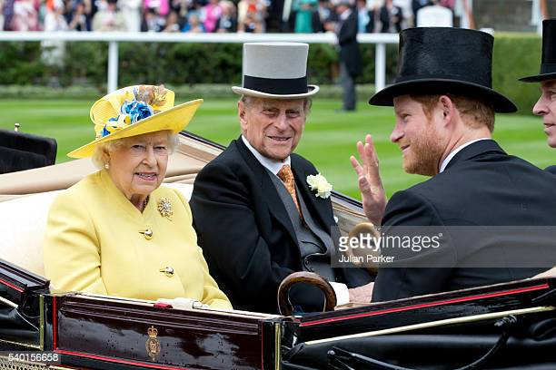 Queen Elizabeth II and Prince Philip the Duke of Edinburgh with Prince Harry attend the first day of The Royal Ascot race meeting on June 14 2016 in...