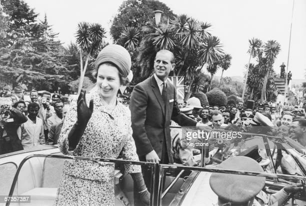 Queen Elizabeth II and Prince Philip visit the Liberation Monument in Addis Ababa during their tour of Ethiopia 4th February 1965