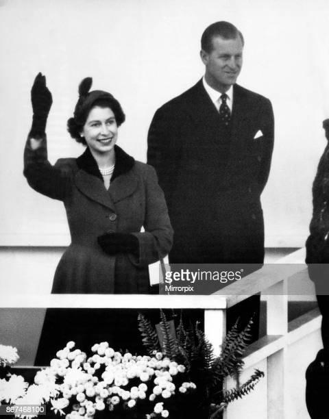 Queen Elizabeth II and Prince Philip visiting Birmingham 3rd November 1955