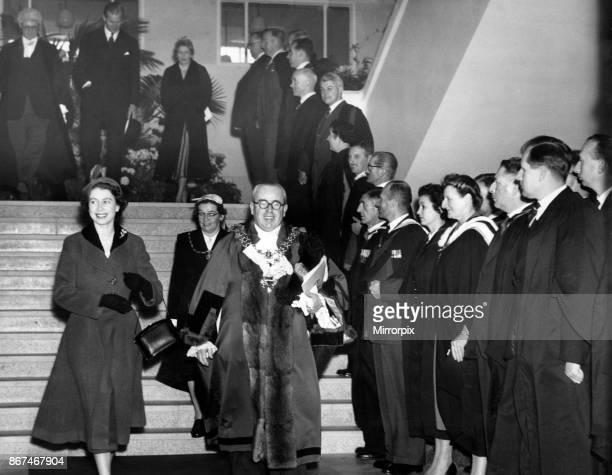 Queen Elizabeth II and Prince Philip visiting Birmingham West Midlands 3rd November 1955