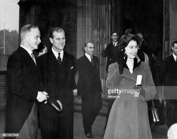 Queen Elizabeth II and Prince Philip visiting Birmingham West Midlands Pictured her Majesty waving goodbye on leaving King Edward's school 3rd...