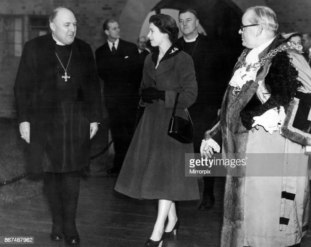 Queen Elizabeth II and Prince Philip visiting Birmingham West Midlands Pictured leaving the new All Saints Church in Shard End 3rd November 1955
