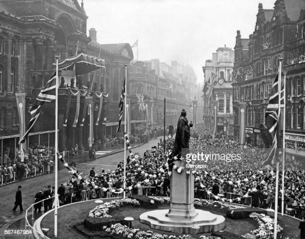 Queen Elizabeth II and Prince Philip visiting Birmingham West Midlands Pictured the Queen and Duke appear on the Council House balcony 3rd November...