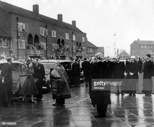 Queen Elizabeth II and Prince Philip visiting Birmingham West Midlands Pictured the Queen arrives at the new All Saints Church built to serve the...