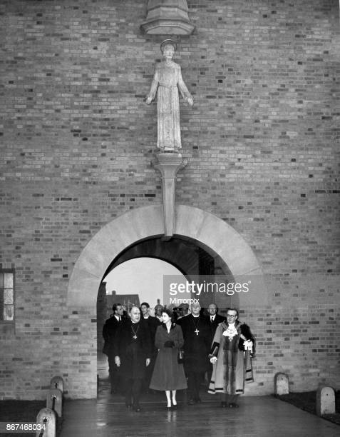 Queen Elizabeth II and Prince Philip visiting Birmingham West Midlands Pictured the Queen leaves the new Shard End Church All Saints Church...