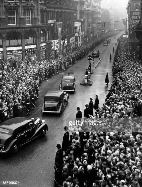 Queen Elizabeth II and Prince Philip visiting Birmingham West Midlands Pictured the royal cars leaving via New Street 3rd November 1955