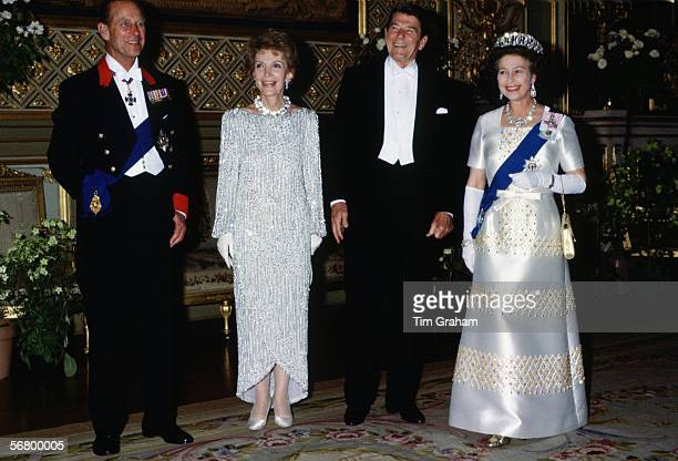 Queen Elizabeth II and Prince Philip with American President Ronald Reagan and his wife Nance Reagan at Windsor Castle for a State Banquet
