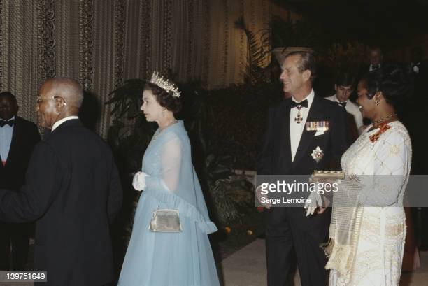 Queen Elizabeth II and Prince Philip with Hastings Banda President of Malawi during their visit to Malawi July 1979