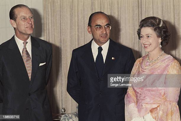 Queen Elizabeth II and Prince Philip with Mexican President Luis Echeverria during their state visit to Mexico 1975