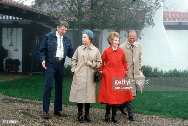 Queen Elizabeth II And Prince Philip With President Ronald Reagan And First Lady Nancy Reagan At Their Mountain Top Getaway, Rancho Del Cielo, Just...