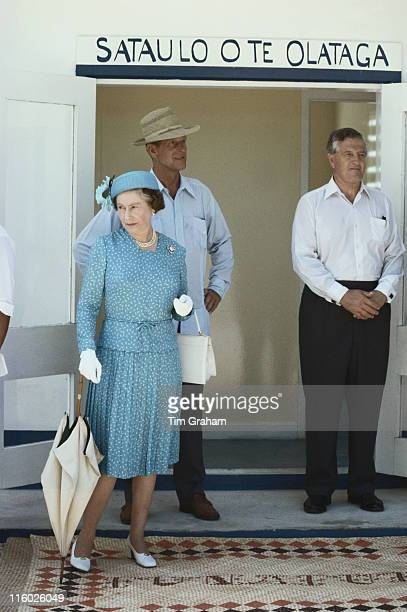 Queen Elizabeth II and Prince Philip with Sir Philip Moore private secretary to the Queen during a visit to Tuvalu 27 October 1982 The Queen and...