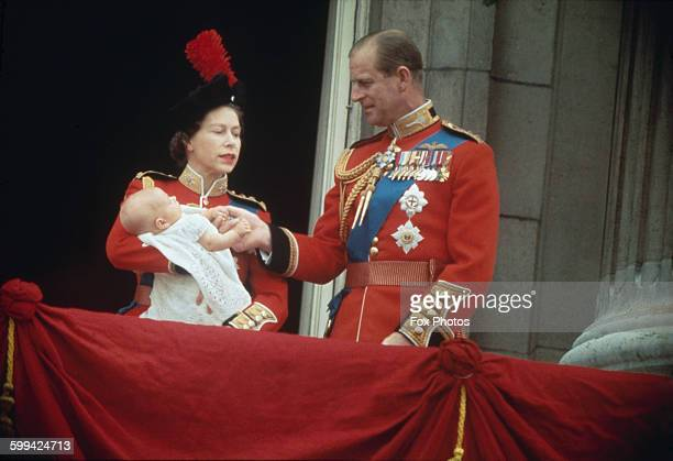 Queen Elizabeth II and Prince Philip with their baby son Prince Edward on the balcony at Buckingham Palace during the Trooping of the Colour London...