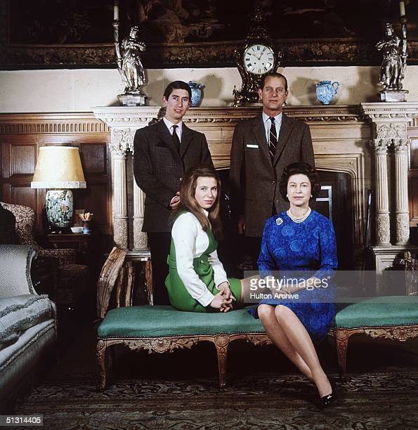 Queen Elizabeth II and Prince Philip with their children Prince Charles and Princess Anne at Sandringham in Norfolk,1970.