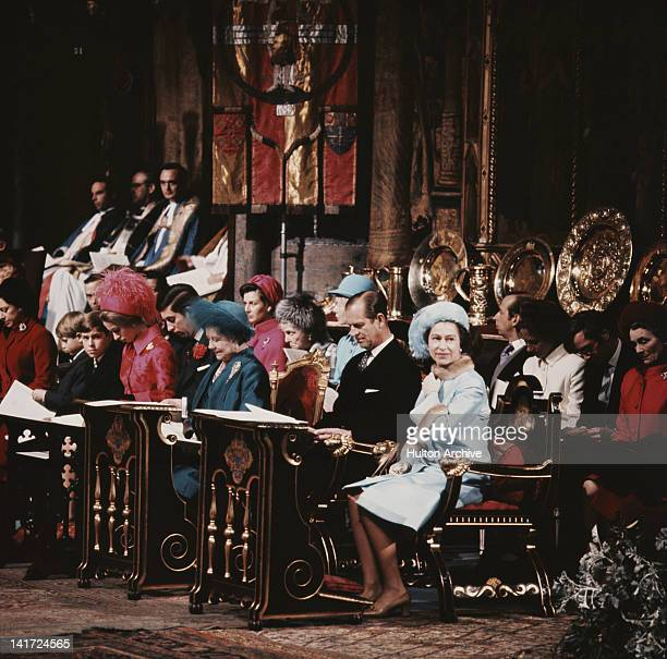 Queen Elizabeth II and Prince Philip with their family in Westminster Abbey London for their 25th Silver Wedding anniversary 20th November 1972