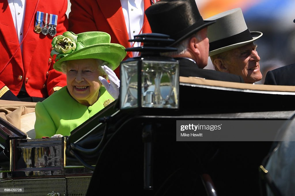 Queen Elizabeth II and Prince Phillip arrive for the first day of Royal Ascot at Ascot Racecourse on June 20, 2017 in Ascot, England.