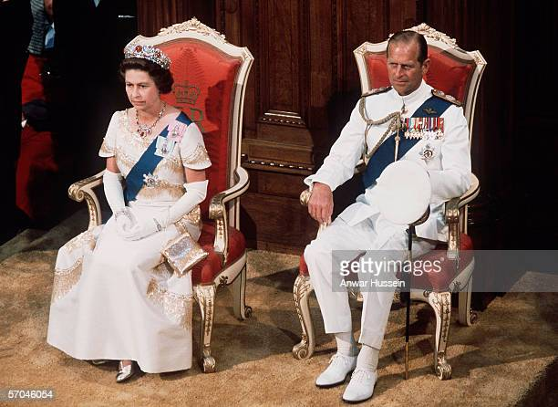 Queen Elizabeth II and Prince Phillip at the State Opening of Parliament in WellingtonNew Zealand in 1977 During her Silver Jubilee tour Queen...