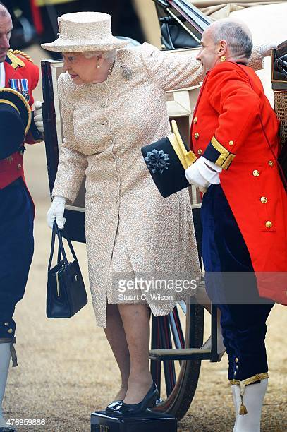 Queen Elizabeth II and Prince Phillip Duke of Edinburgh arrive at Horseguards Parade during the annual Trooping The Colour ceremony at Horse Guards...