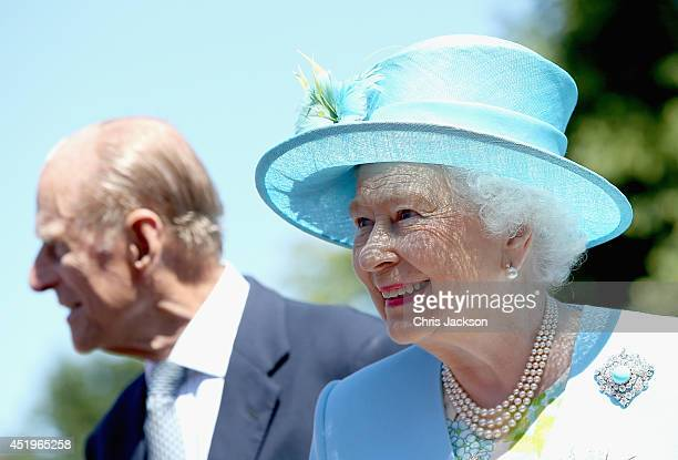 Queen Elizabeth II and Prince Phillip, Duke of Edinburgh arrive for a visit to Chatsworth House on July 10, 2014 in Chatsworth, England.