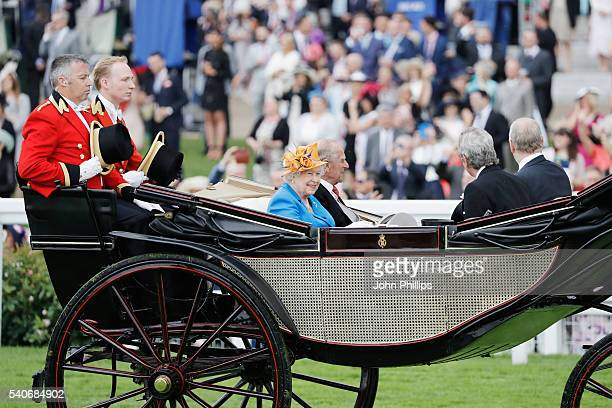 Queen Elizabeth II and Prince Phillip, Duke of Edinburgh arrive in the Royal Procession on day 3 of Royal Ascot at Ascot Racecourse on June 16, 2016...