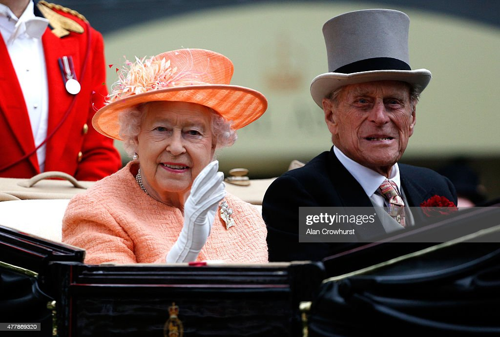 Queen Elizabeth II and Prince Phillip, Duke of Edinburgh during the Royal Procession on day 5 of Royal Ascot 2015 at Ascot racecourse on June 20, 2015 in Ascot, England.