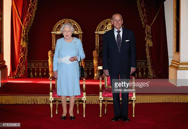 Queen Elizabeth II and Prince Phillip Duke of Edinburgh prepare to present awards for the Queen's Anniversary Prizes for Higher and Further Education...
