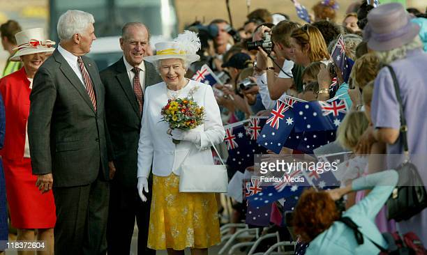 Queen Elizabeth II and Prince Phillip have arrived in Canberra to begin their five-day tour of Australia. They were greeted by a welcoming party,...